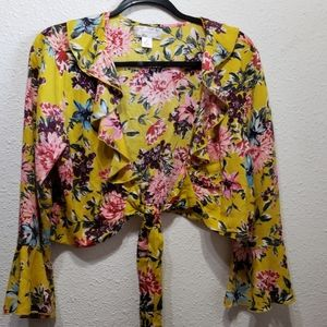 Band of Gypsies yellow floral bell sleeve top